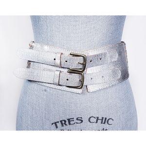 Linea Pelle Wide Leather 2 Buckle Silver Belt S